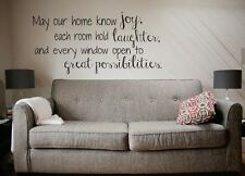 HOME JOY LAUGHTER Vinyl Wall Decal Words Lettering Quote Saying Sticky  24""