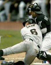 Play at Home Plate! IVAN RODRIGUEZ & JT SNOW 8x10 Famous Photo MARLINS vs GIANTS