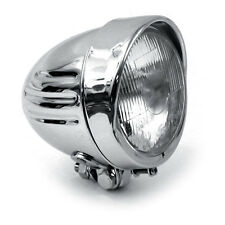 "PHARE CHROME 4 1/2 "" RIBBED AVEC CASQUETTE HARLEY BOBBER CHOPPER"