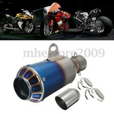 Motorcycle Grilled Blue Exhaust Muffler Tail Hollow Pipe 38-51mm Can Slip-on