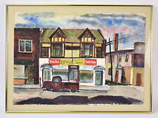 1950's Watercolor Painting Pickup Truck Bidwell's Campus Spot Champaign IL