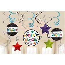 RETIREMENT HANGING SWIRL DECORATIONS (12) ~ Birthday Party Supplies Decorations