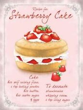 RECIPE FOR STRAWBERRY CAKE - TIN SIGN METAL PLAQUE 100's OF OTHERS LISTED 15