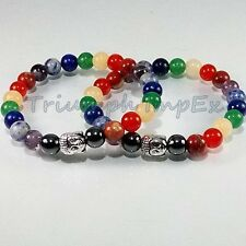 ALL CHAKRA STONE BEADS + BUDDHA BRACELET [Aligns all chakra, Great look & feel ]