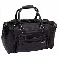 NEW! Black GENUINE Leather Tote Bag Gym Duffle Travel Luggage Overnight Carry On