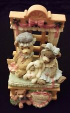 "Resin Music Box Gentle Expressions ""Teddy Hugs"" 09020 Christmas Blessing Friends"