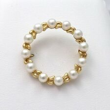 RETRO VINTAGE 14K GOLD ETERNITY CIRCLE SALT WATER PEARL CLASSIC BROOCH PIN 4.5gr