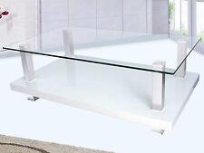Couchtisch 120cm Klar Glas Beistelltisch Wohnzimmertisch Holz Tisch Sofatisch