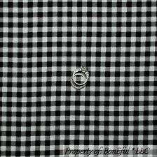 BonEful Fabric FQ Flannel Cotton Quilt Black White B&W Gingham Check Xmas Block