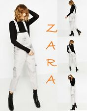 ZARA Super Bleach Cargo Style Dungarees Strap Clips New (RT$75) Rompers Size XS+
