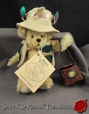 1991 L. Bears & Co. Lori A. Baker Mohair Fishing Flies Hat & Creel Teddy Bear