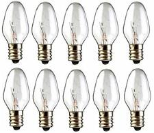 Box of 10 Nightlight Bulbs 15C7 Clear 15W 120V E12 Candelabra Base