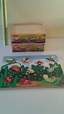 Lot 3 Melissa & Doug Wooden Puzzles Boxed Vehicles Themed 1 Magnetic Bugs  3+