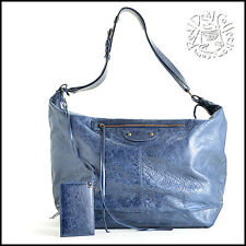RDC6179 Authentic Balenciaga Marine Blue Lambskin Leather Courier Messenger Bag