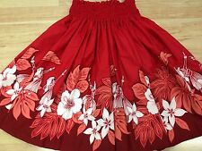 "NEW RED HAWAIIAN PAU PA'U HULA DANCE SKIRT 29"" LONG"