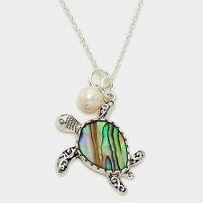 Sea Turtle Necklace Starfish Beach Surf SILVER ABALONE SHELL Filigree Jewelry