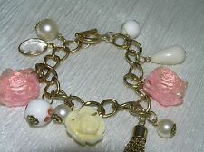 Estate Goldtone Open Link with Pink & Cream Carved Plastic Roses & Floral Beads