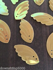 Vintage Sequins Wing / Leaf 30mm Honey Gold Iridecent Rainbow Exquisite Quality