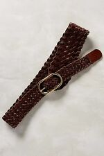 NWT ANTHROPOLOGIE Tapered Braid Brown Leather Belt Size S By Linea Pelle $88