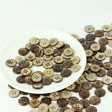 Lots 50pcs Brown Coconut Shell 2 Holes Buttons Sewing Scrapbooking Craft#18mm *