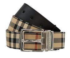 NEW BURBERRY HORSEFERRY CHECK BLACK LEATHER REVERSIBLE LOGO BUCKLE BELT 105/42