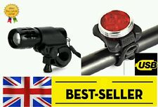 front rear lights set - flashing white red 3 led rechargeable bike light cycling