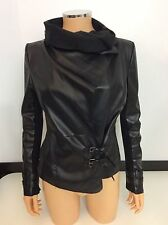 RIVER ISLAND black Faux Leather Biker Jacket Coat Size 38 Uk 10 Vgc