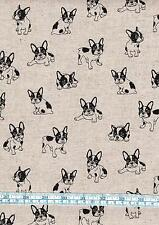Fat quarter french bulldog chiens sur lin look 100% coton quilting tissu