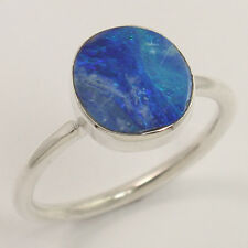 925 Sterling Silver Trendy Ring Size UK O Natural DOUBLET OPAL Gemstone Exporter