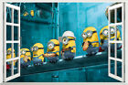 3D Window Minions Despicable Me 2 Wall Stickers Decals Removable Kids Decor