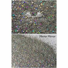 Mixed glitter Gel/acrylic Nail art Silver Rainbow Multi Mix 6g Bag Mirror Mirror