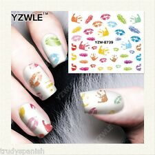 Nail Art Water Decals Transfers Neon Rainbow Handprints Lips Gel Polish (8739)