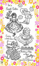 "FLONZ ""Little Lady"" clear stamps set 265 vintage unmounted acrylic cute girl"