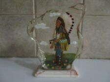 "SOUTHWEST DECOR (REVERSE PAINTED) 7"" TALL ARTISTICALLY DETAILED PEACE CHIEFTAN"