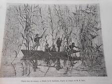 Gravure 1877 - Grèce Chasse dans les roseaux