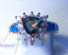 "GORGEOUS BLUE  FIRE OPAL/MYSTIC/WHITE TOPAZ RING UK Size ""P"" US  8"