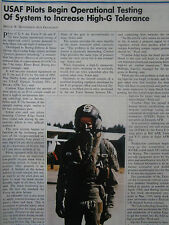 3/91 ARTICLE 1 PAGE USAF PILOT COMBAT EDGE ANTI-G SYSTEM HELMET OXYGEN MASK