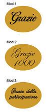 120 Etichette adesive stampate con la scritta Grazie 22x16mm Color Oro / Argento