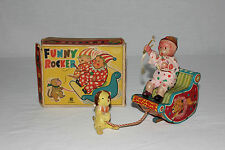 Bandai Japan Tin Litho & Celluloid Pull String Funny Rocker Clown Monkey & Box