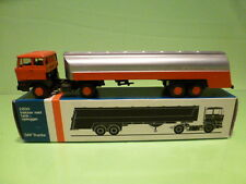 LION CAR 62 DAF 2800 TRUCK + TANKER - ORANGE 1:50 - GOOD CONDITION IN BOX