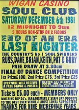 Music Poster Reprint Wigan Casino last night 1981