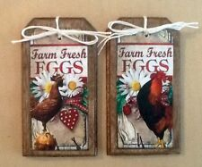 5 Wooden HANDCRAFTED Farm Fresh Eggs Ornaments/HangTags/BowlFillers/ORNIES SETll