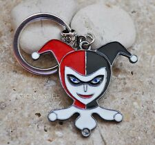 Silver Plt & Enamel Harley Quinn Face DC Comic Keychain Ladies, Girls Mens Gift