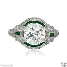 Art Deco ring with 2.50ct diamond with emeralds 1925 Vintage Ring in 925 Silver