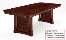 10 Foot Rectangle Conference Table with GROMMETS Real Cherry Veneers FANCY LEGS
