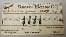 VINTAGE MYERS' ROUND-WRITER PEN NIBS ON CARD x 4