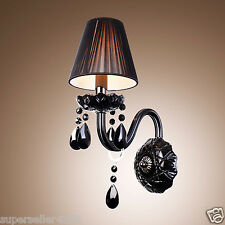 Black Crystal Candle Wall Lights , Modern/Contemporary E12/E14 Glass Wall Sconce