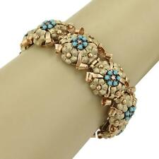 Retro Diamonds & Turquoise 14k Yellow & Rose Gold Textured Flower Bracelet