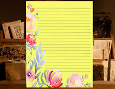 Light Yellow Floral Eged Lined Writing Paper Set , 25 sheets and 10 envelopes