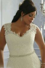 Plus Size White/Ivory Lace Wedding dress bridal gown Size 14- 26+ UK